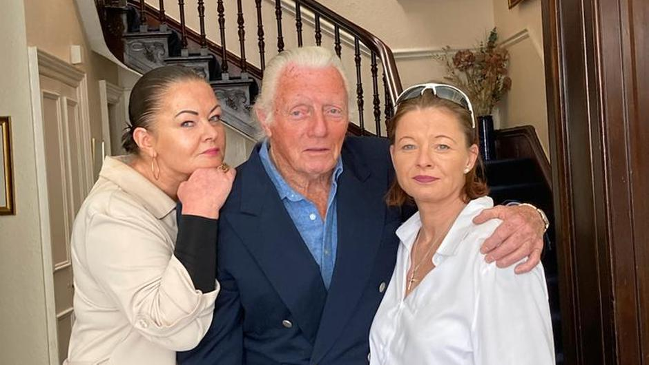 Eddie Barrett and his daughters Elaine and Naomi
