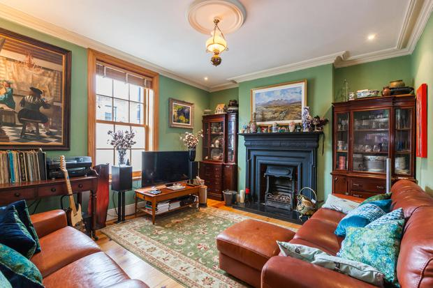 The main living room - the cabinets either side of the fireplace are from the set of 'The Clinic' with the larger painting from 'Normal People'