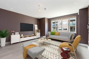 Virtual staging of the living room at 8 The Avenue, Marianella, Rathgar