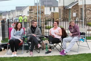 From l-r are Megan O'Shaughnessy, 23, Thomas Beveridge, 22, Lisa Stacey, 27, and Shantelle Farrell, 20, queuing to buy a house at Miller's Glen estate in Swords, the houses go on sale tomorrow