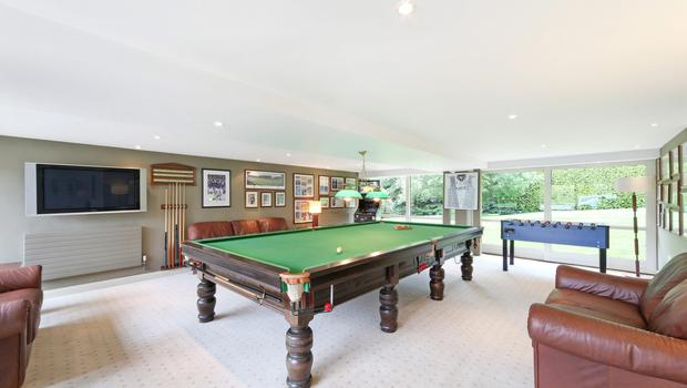 Farnham Hill games room, complete with full-size snooker table donated by the former owner Don Tidey