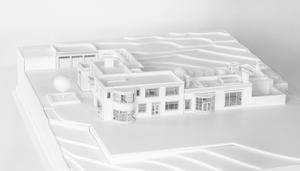 Architect's model showing the rear and side of the proposed villa at Longacre
