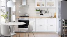 Use a splashback or paint that matches your units such as in this kitchen by Ikea; ikea.ie