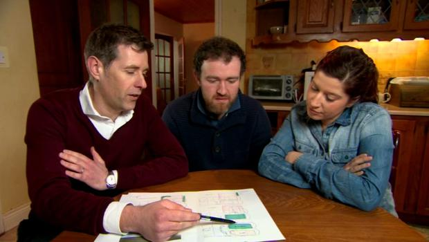 Dermot Bannon with Larry McGrath and Elaine O'Neill on Room to Improve