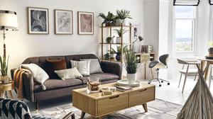Mixing geometric and botanical-inspired prints bringing interest to a neutral backdrop. Photograph: Homesense