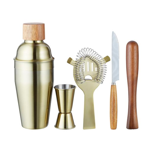 Eclectic gold cocktail shaker kit from Homesense
