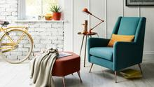Cool and modern but with a hint of mid-century style, the Peace is part of DFS's brand-new Capsule seating collection, available in 45 colours with copper, nickel, washed oak or dark feet, €499; dfs.ie