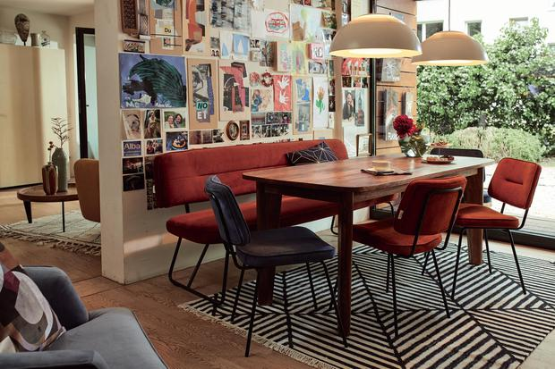Tube dining bench, Elephant table and tube chair from Tom Tailor