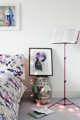 Softer colours and lines create grown-up schemes in the teenage girl's bedroom. Suzie sourced many of the prints from Cate Parr on Etsy, and they are echoed in the bedding