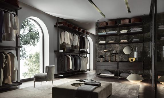 An innovative sectional system for living-rooms and dressing rooms from Rimadesio of Milan. Aluminium poles, patented hooking and luxurious veneers, this is feature storage at its best. Prices for a bespoke arrangement start at €5,000, minima.ie