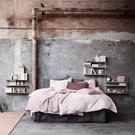Dusky pink bed linen is complemented with accessories in familiar tones, but combined with industrial grey, it's never sickly sweet; string.se