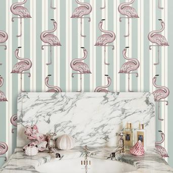 Designed to add interest to small spaces, House of Hackney's Art Deco Menagerie series features animal motifs on striped and leopard backgrounds. This flamingo fellow is available in Macaroon Green, Macaroon Pink and Lavender from Dust.ie (€199 per roll)