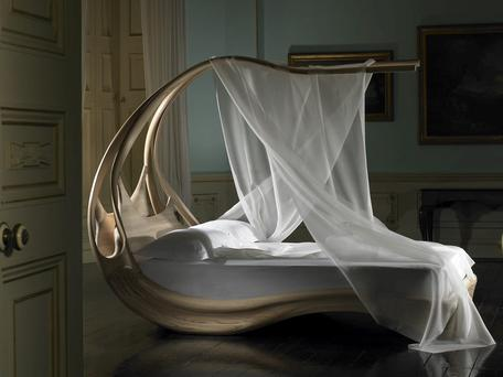 With a reputation for ethereal wood furniture, Joseph Walsh's Enignum V Canopy Bed is an exploration of the freeform art of bending ash; josephwalshstudio.com. Photo: Andrew Bradley