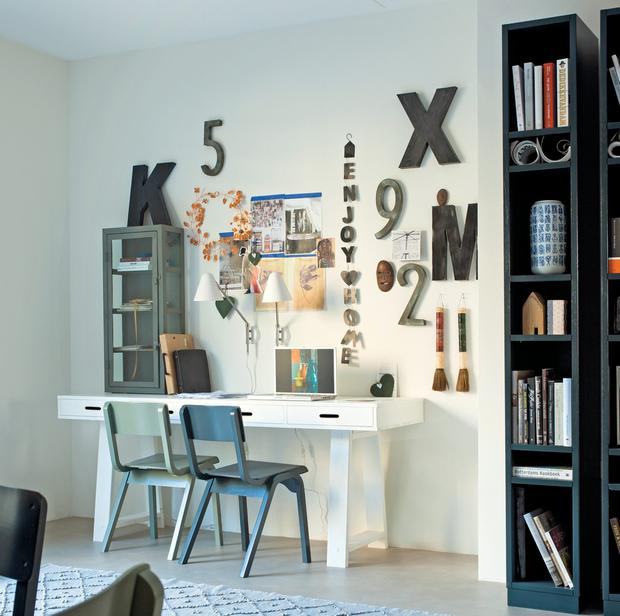 Add personality with large typography and look to suitable wall sconces for a change from the desk lamp; cuckooland.com
