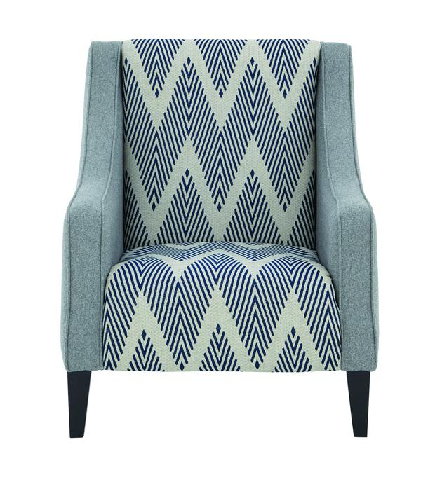 Shelby Fabric Accent Chair, €649 - Pieces that aren't completely covered in crazy patterns, yet still make a statement, work well; littlewoodsireland.ie
