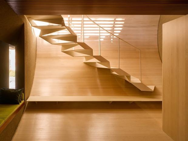 one of two eye-catching steel staircase