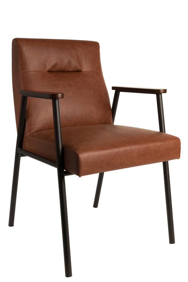 Vintage chair, €261.09. Introducing a single leather element among your other fabric-upholstered pieces is ideal if you're experimenting with leather for the first time; cuckooland.com