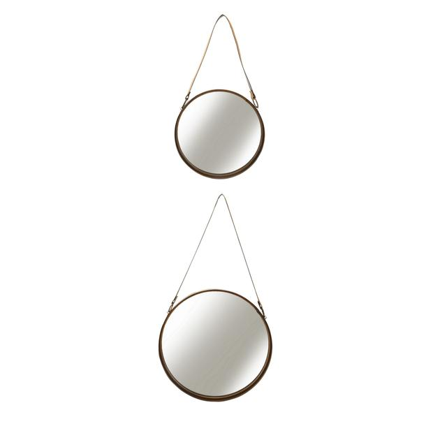 Round mirrors with leather straps, €54.90. Subtle leather touches, in places you can't help but look, are a good idea if you're new to the finish; littlewoodsireland.ie