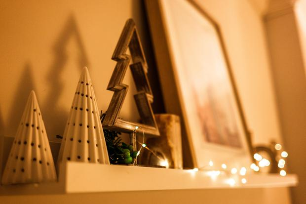 White Christmas tree ornaments, €2.75 at sostrenegrene.com; fairy lights, €15 at dunnesstores.com.