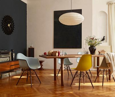 Vitra Eames Plastic Armchair, €473.10, and chairs, €380.47 each, from nest.co.uk