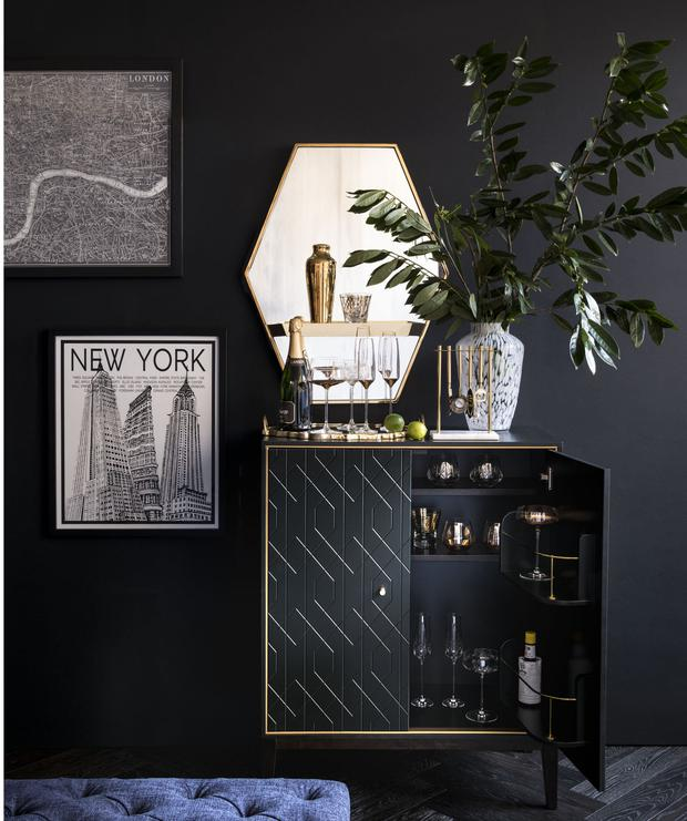 Nothing recreates the Art Deco look more than black and gold combinations on interior pieces and prints; marksandspencer.ie