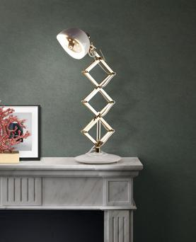 Billy mid century modern inspired table lamp in white and gold, from a collection at Delightfull.eu