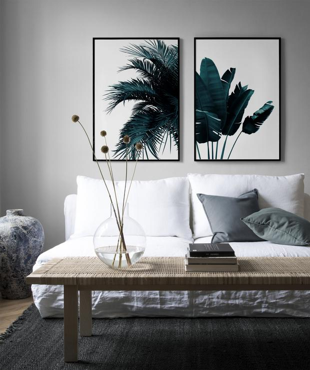 TRENDY WALL ART: Green banana leaves and palm tree, from €16 for a pair of wall posters, desenio.com