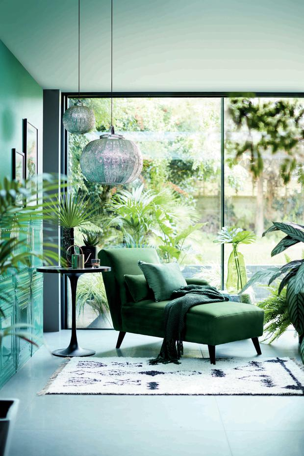 Emerald green can look both classic and contemporary. Evie Chaise in velvet green, €699; dfs.ie