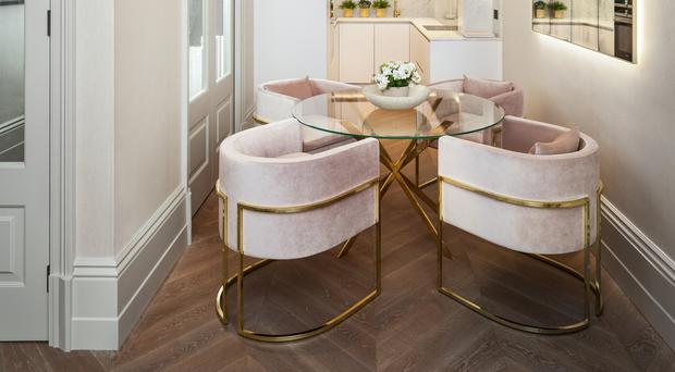 Enlightened: Jo's design for a London apartment, featuring the Bolle pendant light by Italian designers Gallotti and Radice. Photo: David Butler