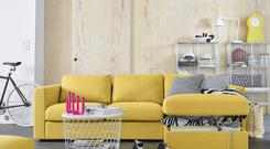 Ikea sofa and table which double as storage spaces