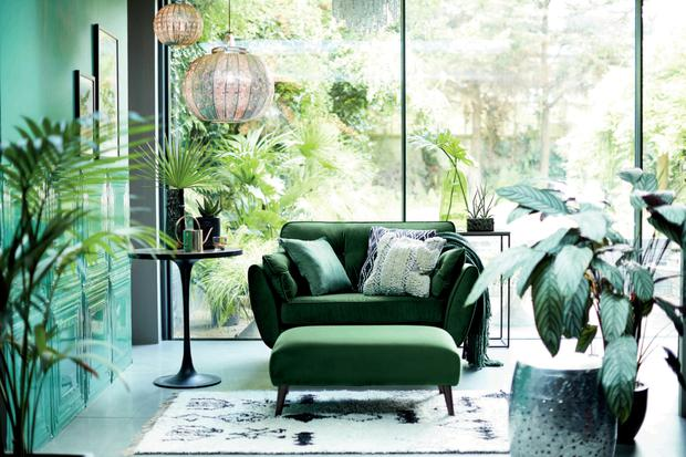 French Connection Zinc Cuddler sofa in luxe velvet forest green from DFS