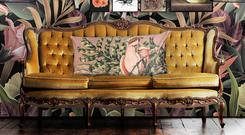 Leighton Ochre velvet cushion from The French Bedroom Company