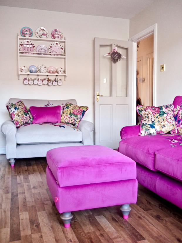 Catherine Carton's home with shocking pink furnishings