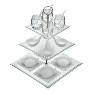 Contemporary serving set in glass and porcelain, €45, anvil.ie