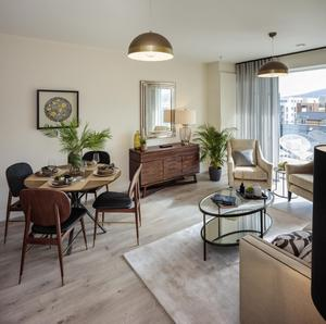 Modern vintage: Each apartment for sale in Clay Farm's Whitebeam Hall has an open-plan living/dining room with French doors on to the balcony