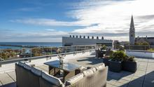 Top of the world: Views of Dun Laoghaire from the penthouse terrace at Marine Walk