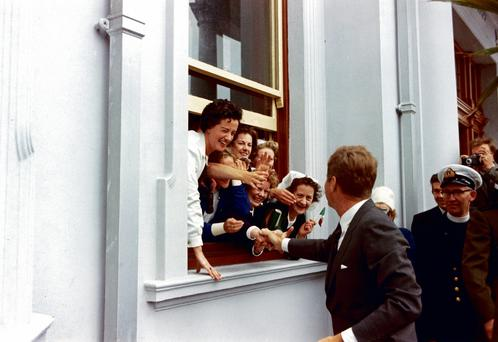 JFK greets nurses outside a hospital