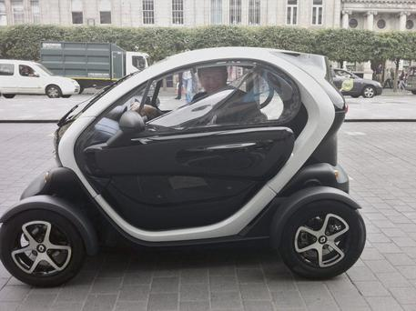 Eddie Cunningham pictured as he drove the Twizy around Dublin