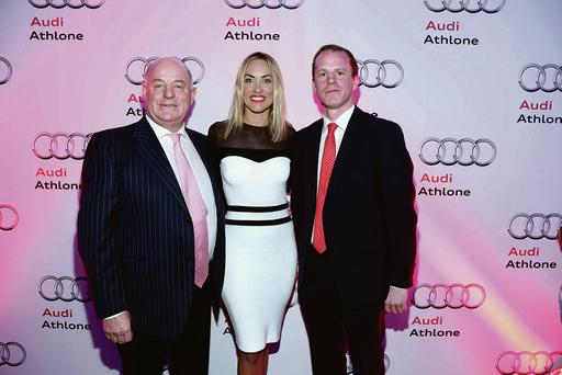 Michael Moore Snr and Michael Moore Jnr with Kathryn Thomas at the event.