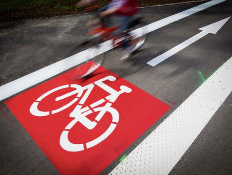 A red stop sign was used to stop cyclists during the exercise.