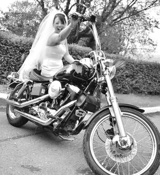 ALL Revved up: Raicheal Cronin on her dad's cherished Harley Davidson on her wedding day