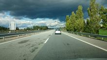 Dark storms were brewing on the first day of driving across Europe