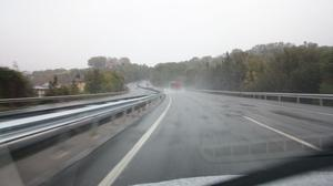 The wet conditions and narrow roads around the entry point to France made driving very difficult