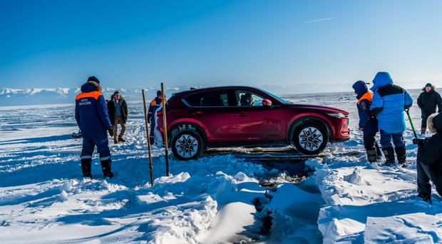 The crack was mighty: Coaxing the Mazda CX-5 across a huge fracture in the ice