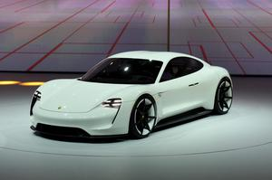 The Porsche Mission-E concept car at the Frankfurt Motor Show in Germany