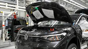 A production line for the electric Volkswagen model ID. 4, in Zwickau, Germany. Picture: Reuters