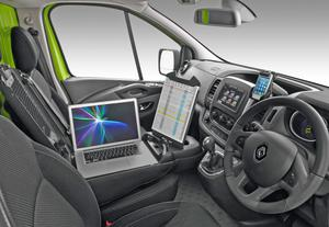 A van driver's cabin is a workspace