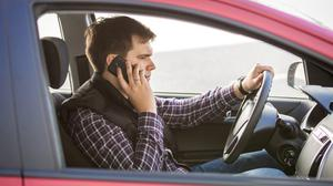 Driver talking on phone