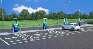 Artists impression of new superhub for electric-car charging