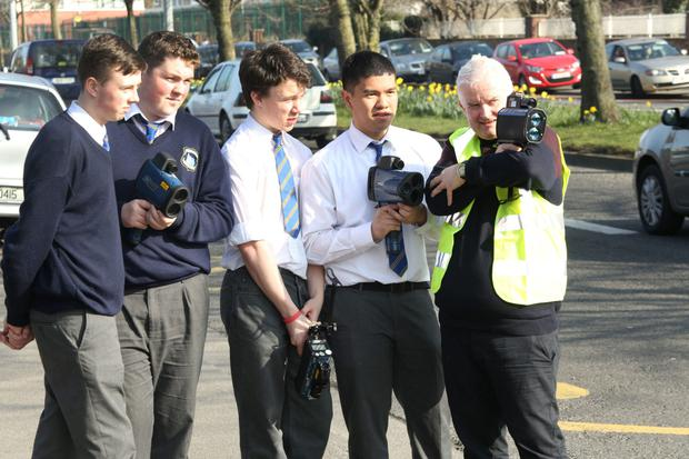 From left, Drimnagh Castle students Aaron Crowe, Jack Walsh, Conor McAuley, Karl Caones with Neil Yearsley of Laser Technology.